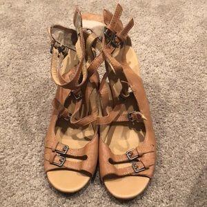 Tan wedge peep toe sandals